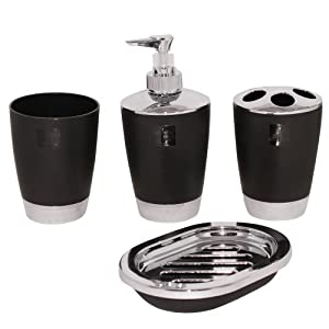 piece acrylic bathroom accessory set black home kitchen