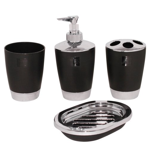 Justnile 4 piece acrylic bathroom accessory set black for Black bath accessories sets