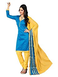 VARANGA Light Blue Embroidered Dress material with Matching dupatta SSR1004
