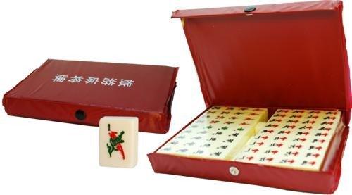 Jouetprive-Coffret de Mah-Jong en vinyle rouge Vico