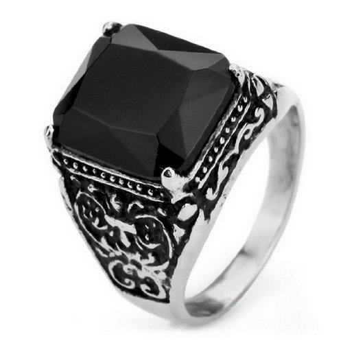 JBlue men's 316L Stainless Steel Ring Band Silver Black Cubic Zirconia Vintage