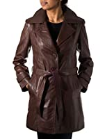Brown Ladies Trench Classic 3/4 length Whit Back Vent Real Soft leather coat/jacket with belt tie Coat (Sizes 8 - 24)