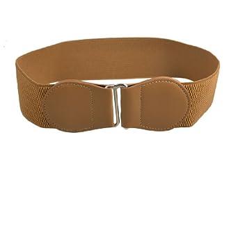 interlocking buckle 6cm wide brown elastic waist