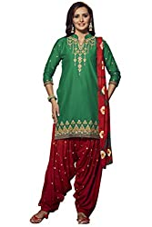 Kvsfab Green & Maroon Pure Cotton embroiderd dress Material(patiala un-stitched_KVSSK7856PA_44)