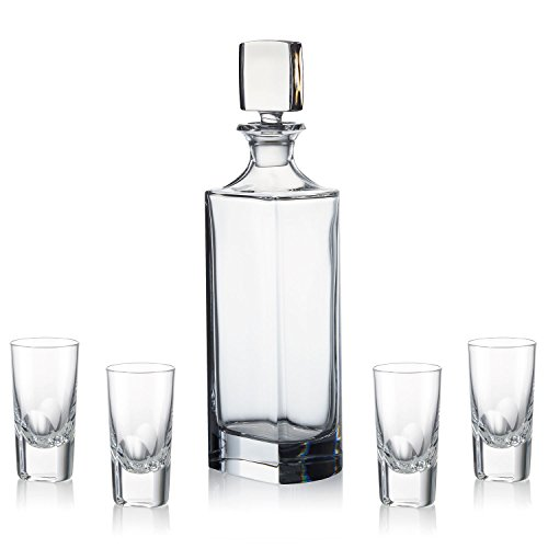 Rogaska Manhattan Vodka Set Decanter with 4 Shot Glasses