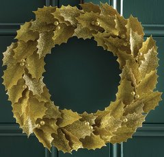 "Martha Stewart Crafts Glittered Gold Leaves 11"" Wreath Kit"