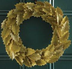 "Martha Stewart Crafts Glittered Gold Leaves 11"" Wreath Kit"