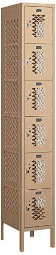 Salsbury Industries 76165TN-U Six Tier Box Style 1-Inch Wide 6-Feet High 15-Inch Deep Unassembled Vented Metal Locker, Tan Brown