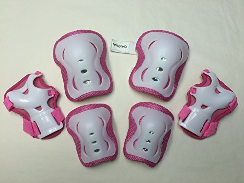 Fantasycart Kid's Roller Blading Wrist Elbow Knee Pads Blades Guard, Pink and White