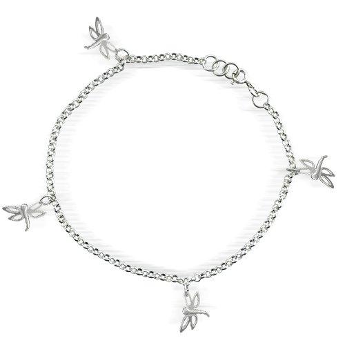Sterling Silver Multi Dragonflies Anklet Ankle Bracelet