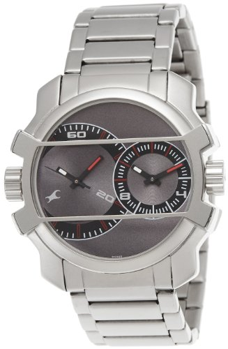 Fastrack Midnight Party Dual Time Analog Grey Dial Mens Watch - 3098SM01