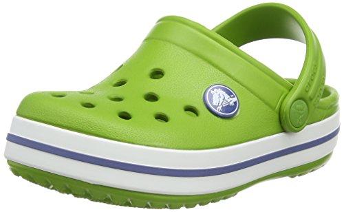 Crocs Crocband - Sabot Unisex-Bambini, Verde (Parrot Green/White 34S), 22-24