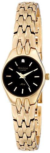 Armitron Women's 22mm Gold-Tone Brass Bracelet & Case Quartz Black Dial Analog Watch 75/5197BKGP