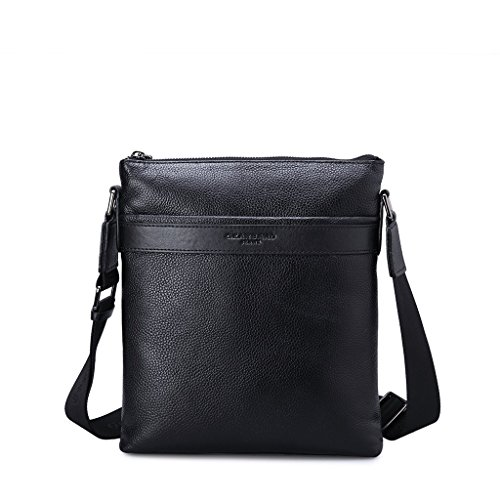 Borsa uomo tracolla in vera pelle messenger bag 2 tasche esterne Gear Band Nero