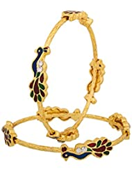 Zeneme Designer Peacock Design Gold Plated Jewellery Bangles For Women And Girls Set Of 2