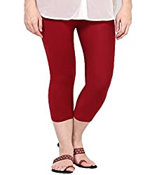 Castle Maroon Knee Length Capri