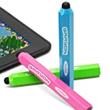 """GreatShield Grayon Kids Stylus Pen for Tablets, Smartphones and Learning Devices - Works with the new iPad with Retina Display (4th Gen), iPad Mini, Barnes and Noble Nook HD+ , Sony Xperia Tablet S, Kindle Fire & Kindle Fire HD 7"""" / 8.9"""" Inch Tablets, Lenovo IdeaTab, Samsung Galaxy Note 10.1, Samsung Galaxy Tab 2 10.1, Google Nexus 7, Blackberry Playbook, Samsung Galaxy Tab 2 7.0, B&N Nook HD, PanDigital 7"""", Coby Kyros 7"""", Dell Streak 7 Android Tablets and Many More Capacitive Touchscreen Devices - 3 Pack (Pink, Green & Blue)"""