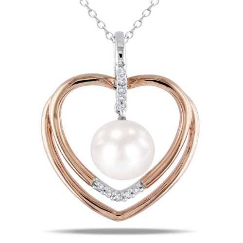 Two-tone Silver Freshwater Pearl and Diamond Accent Heart Necklace