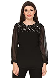 Oyshi Women's Embellished Top (BK1006S, Black, Small)