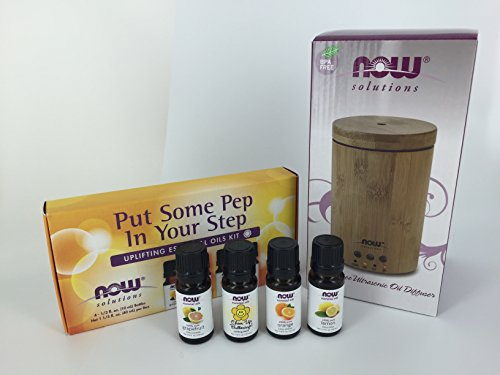 Now Foods Bamboo Essential Oil Diffuser Kit Put Some Pep in Your Step Uplifting Kit - 4 scents (Now Foods Positive compare prices)