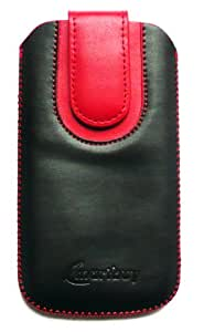 Emartbuy® Black / Red Plain Premium PU Leather Slide in Pouch Case Cover Sleeve Holder ( Size 4XL ) With Pull Tab Mechanism Suitable For Blackberry DTEK50