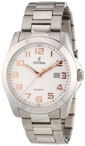 Festina Klassik F16376/3 - Reloj analógico de cuarzo para hombre, correa de acero inoxidable color plateado (agujas luminiscentes)