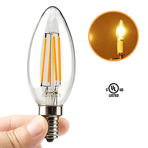 Leadleds E12 4 Watt LED Filament Candelabra Light Bulbs, 40W Incandescent Replacement, Warm White 2700K Chandelier Torpedo Tip 110V AC (Lightbulb Type B compare prices)