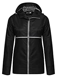 Meaneor Women Front-Zip Hooded Waterp…