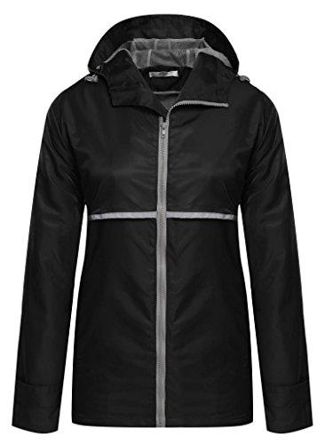 Meaneor Women's Spring Front-Zip Hooded Raincoat Outdoor Waterproof Jacket Black L (Women Raincoat With Hood compare prices)