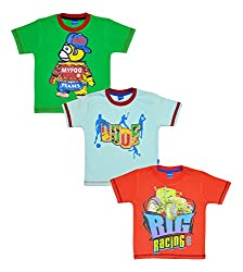MYFAA Baby Boys' Cotton T-Shirts, Combo of 3 (BOY3P-456-18-24M, Multi-Coloured, 18-24 Months)