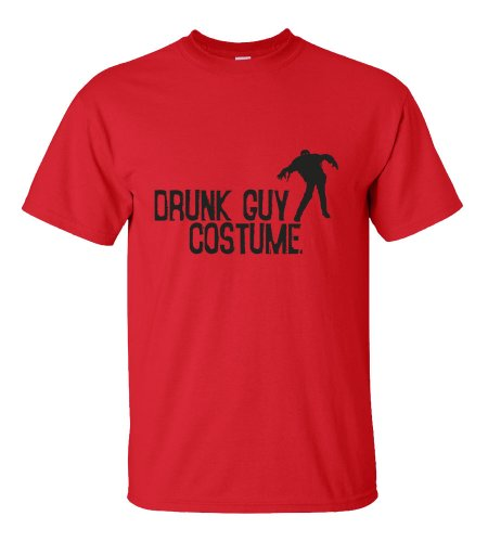 [Halloween Drunk Guy Costume T-shirt Funny Scary-red-2XL] (Funny Easy Guy Halloween Costumes)