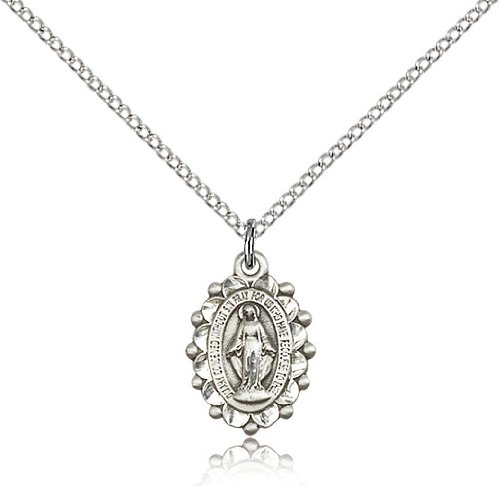 .925 Sterling Silver Miraculous Holy Virgin Mary Immaculate Conception Medal Pendant 5/8 x 3/8