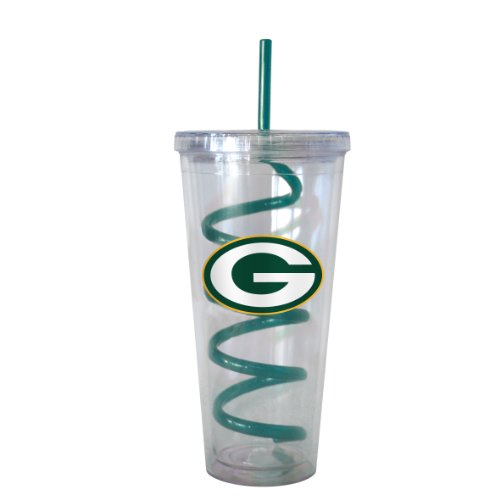 Nfl Green Bay Packers Swirl Straw Tumbler, 22-Ounce