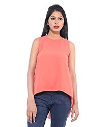 Avakasa Polyester Red Solids Partywear Sleeveless Sleeves Top (top-07-peach)