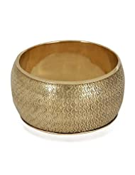Trendy Baubles Broad Matt Gold Bangle For Women