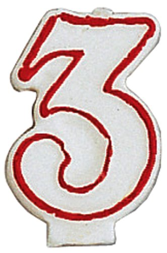 Candle, Numeral Red Outline, 3, Sold By The Case: 1 per Pkg, 6 per Case, Total Quantity: 6 - 1