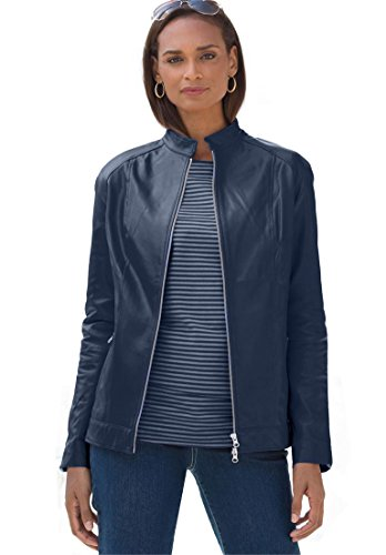 Jessica London Women's Plus Size Plus Size  Navy Blue Leather Jacket