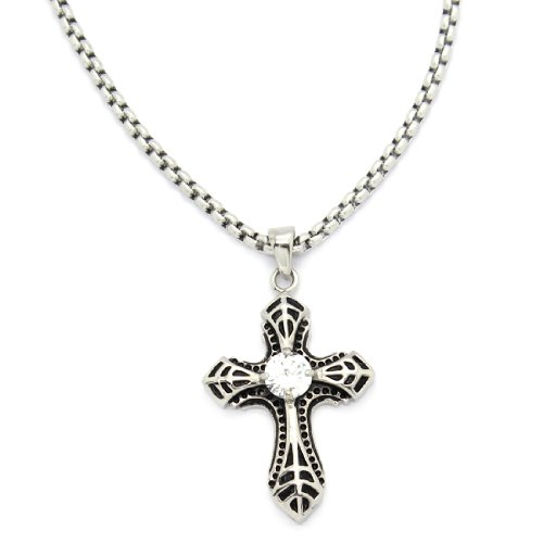 2 PIECE SET: Vintage 19-Inch Stainless Steel Rolo Chain Necklace With Rhinestone Inlaid Cross Pendant (LIFETIME WARRANTY)