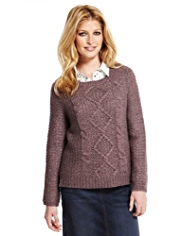 Indigo Collection Cable Knit Jumper with Wool