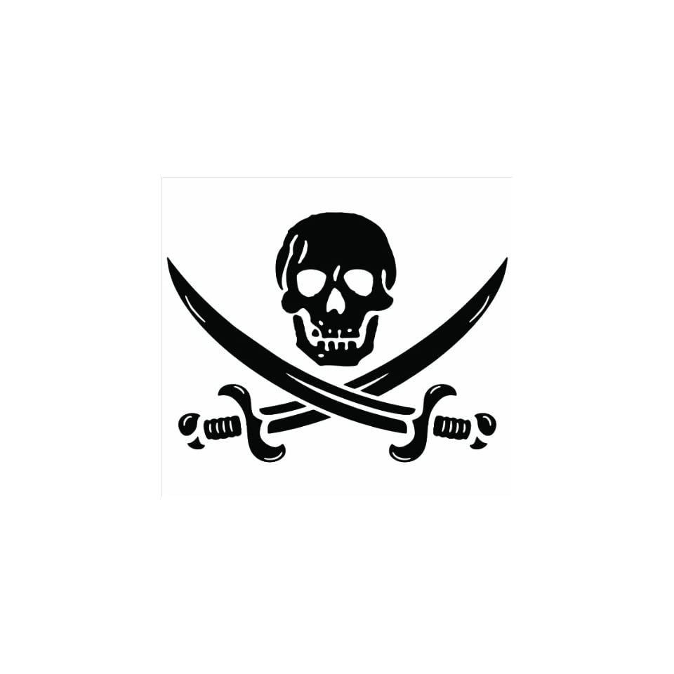 Pirate Skull & Crossed Swords Jolly Roger Vinyl Decal Sticker   White 6 decal
