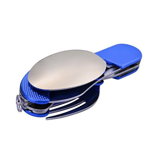 Leeko 4 in 1 Stainless Steel Portable Outdoor Pocket Knife Fork Spoon Diner Set Multi-function Tableware for Camping Hunting,Blue