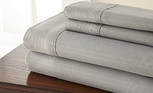 Hotel NY Highest Quality Microfiber Embossed Pinstripe Bedsheets! Queen Grey (Hotel In New York compare prices)