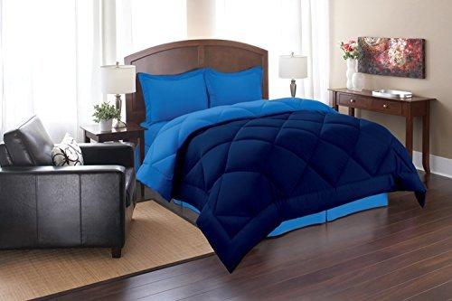 Elegant Comfort Goose Down Alternative Reversible 3pc Comforter Set, Full/Queen, Navy/Aqua (Reversible Comforter Full compare prices)