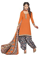 Ishin Cotton Orange & Black Printed Unstitched Dress Material