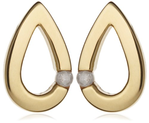 Diamond Teardrop Stud Earrings, 9ct Yellow Gold, Model 1.58.767Y