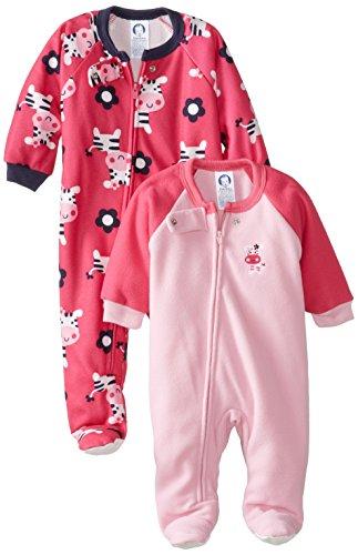 Gerber Baby-Girls Infant 2 Pack Girl Blanket Sleeper, Zebra, 12 Months