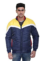 Full-Sleeves Quilted Jacket for Men by COLORS & BLENDS - Navy - M size