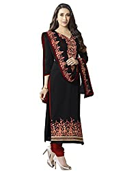 Sheknows Black Pure Cotton Embroidered Dress Material