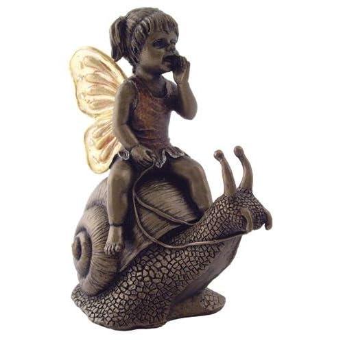 4 Inch Decorative Bronze Look Baby Fairy Riding Snail Figurine