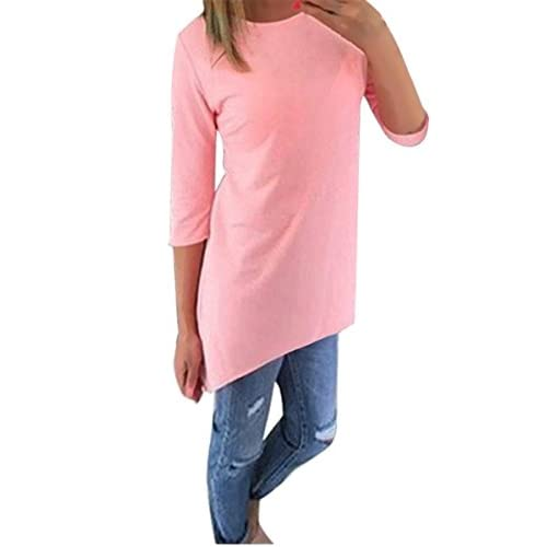 Tops - ISASSY Women's Autumn 3 4 Sleeve Cotton Long Tops Blouse Shirt Pullover